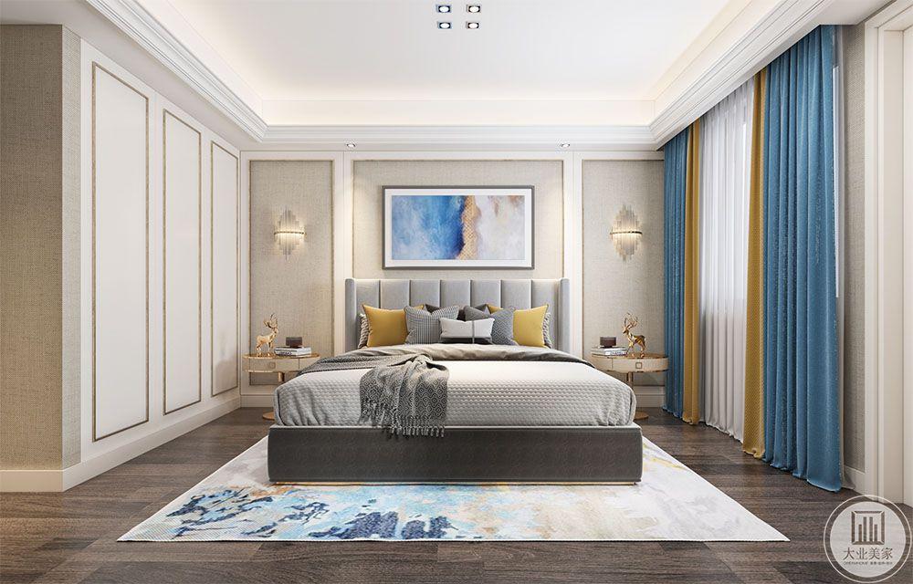 卧室效果图:卧室空间使用了深色的实木地板,衣柜使用了隐形门,在衣柜的门板设计上面很好的跟床背景向呼应,做到简单和谐。床使用了现代简约的灰色皮质大床,优雅大方