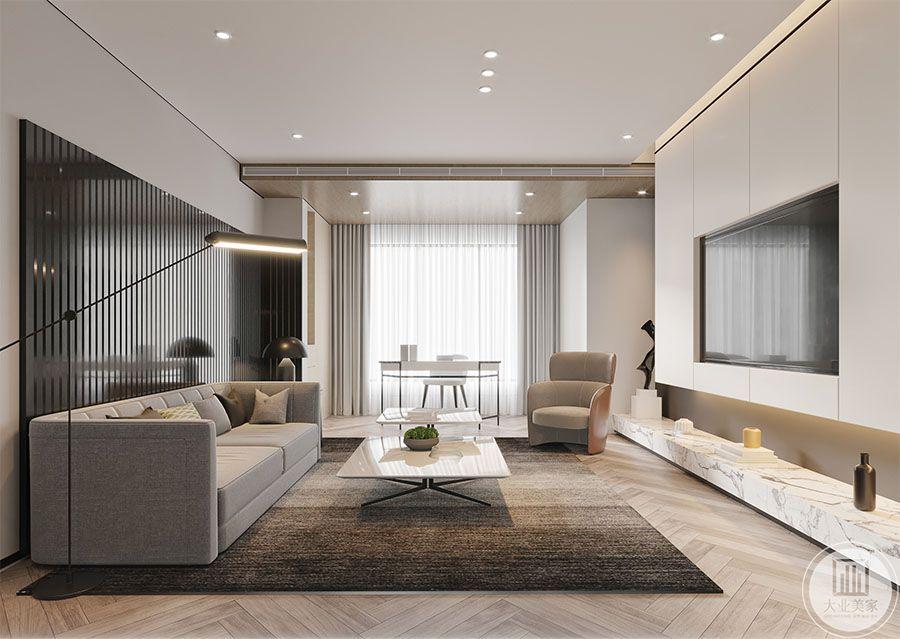 客厅效果图:客厅是主人品味的象征,体现了主人的品格地位。双阳台分割,一半做洗衣阳台一半结合客厅做阅读区,补充客厅功能。电视背景墙用大理石台面及整体柜体来打造,既增加储物空间又使整个客厅更加整体。木材与石材相结合在加上顶面灯光的装饰,温暖中透着高级,清冷中又带着一抹温暖。