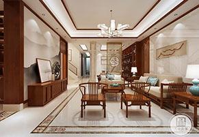 无锡吉宝澜岸名邸500平新中式风格装修效果图