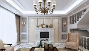 无锡华府庄园209平别墅美式风格装修效果图