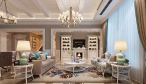 无锡绿地香颂300平别墅美式风格装修效果图
