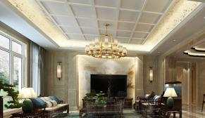 无锡洛龙湾一号450平别墅新中式风格装修效果图