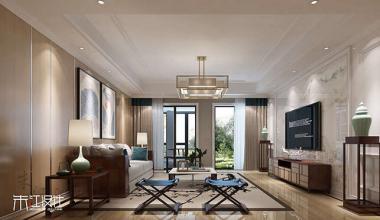 无锡弘阳三万顷500平别墅新中式风格装修效果图