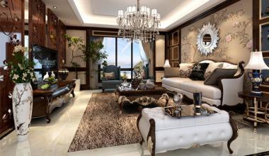 无锡长泰国际400平别墅美式风格装修效果图