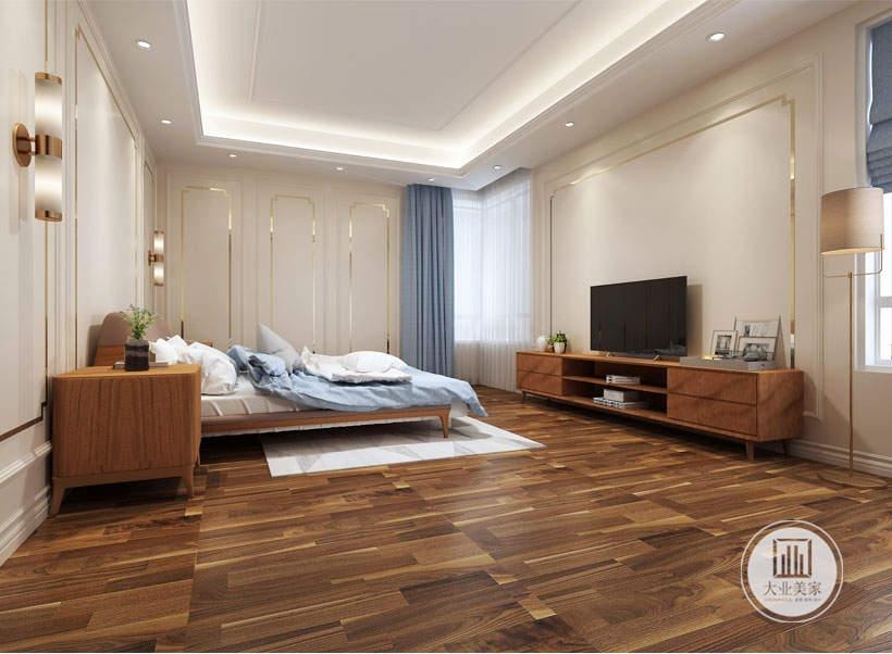 卧室效果图:地面使用了深褐色的木地板,墙面以白亮光色系为主,大量使用护墙,不锈钢材料作为辅材进行装饰,给人带来前卫,不受拘束的感觉。