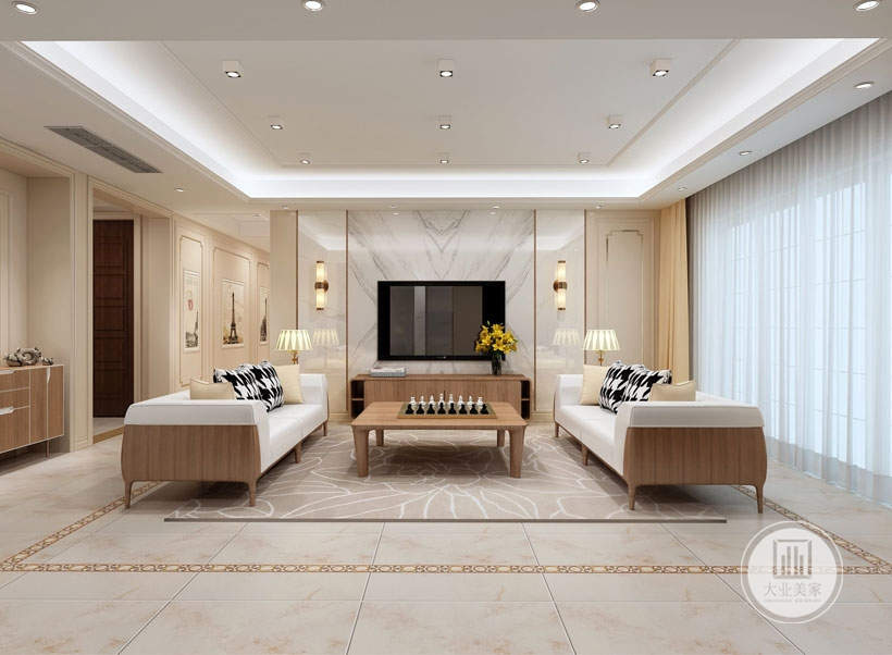 客厅效果图:客厅地面使用了白色的地砖,黄色的纹路,搭配白色线条的浅黄色地毯,纯白色的布艺沙发,原木色的木质边框,黑白格子条纹的抱枕,大理石和护墙板结合的电视背景墙。