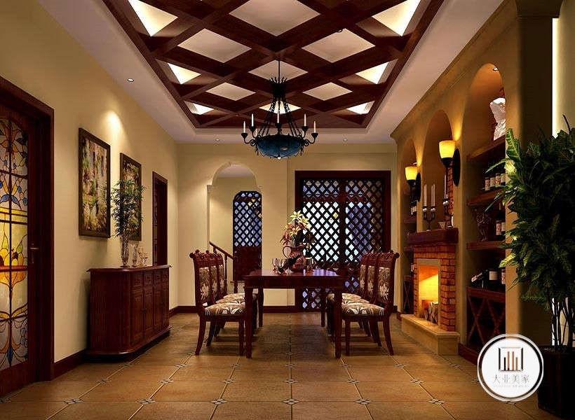餐厅效果图:餐厅采用了古典怀旧拼花地砖,墙面做了几个嵌入式展示柜,配上红砖壁炉和墙上有着暖光源的壁灯极具欧洲古典风情,华丽而具有浓厚的历史沉淀感