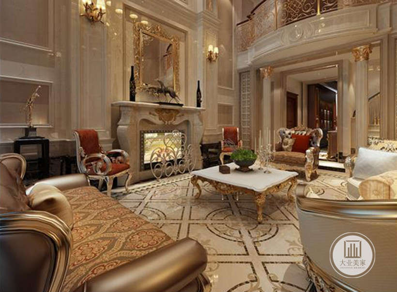 客厅效果图:客厅采用了挑高的形式,地上使用了底色为米黄色的地砖,色调柔和,配上金色纹饰,高贵典雅。沙发采用了金色和白色皮质沙发,富丽堂皇。几张红色的单椅颜色颇为出挑,让人眼前一亮