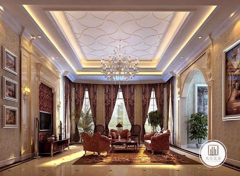 客厅效果图:客厅和餐厅一致,同样采用了古典怀旧拼花地砖,在电视背景墙和软装配饰上,运用了极具欧洲古典韵味的深红底色来搭配金色花纹。色调沉稳,具有贵族气息